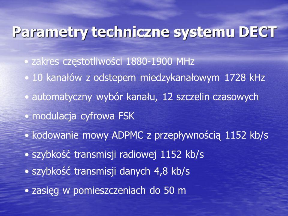 Standard DECT najnowoczneśniejszy europejski standard cyfrowej telefoni bezprzewodowej działa w paśmie 1880-1900 MHz zapewnia takie same usługi jak ab