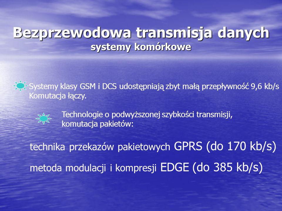 Bezprzewodowa transmisja danych obejmuje: bezprzewodowe sieci lokalne WLAN dwupunktowe łącza bezprzewodowe typu P-P bezprzewodowe systemy trankingowe