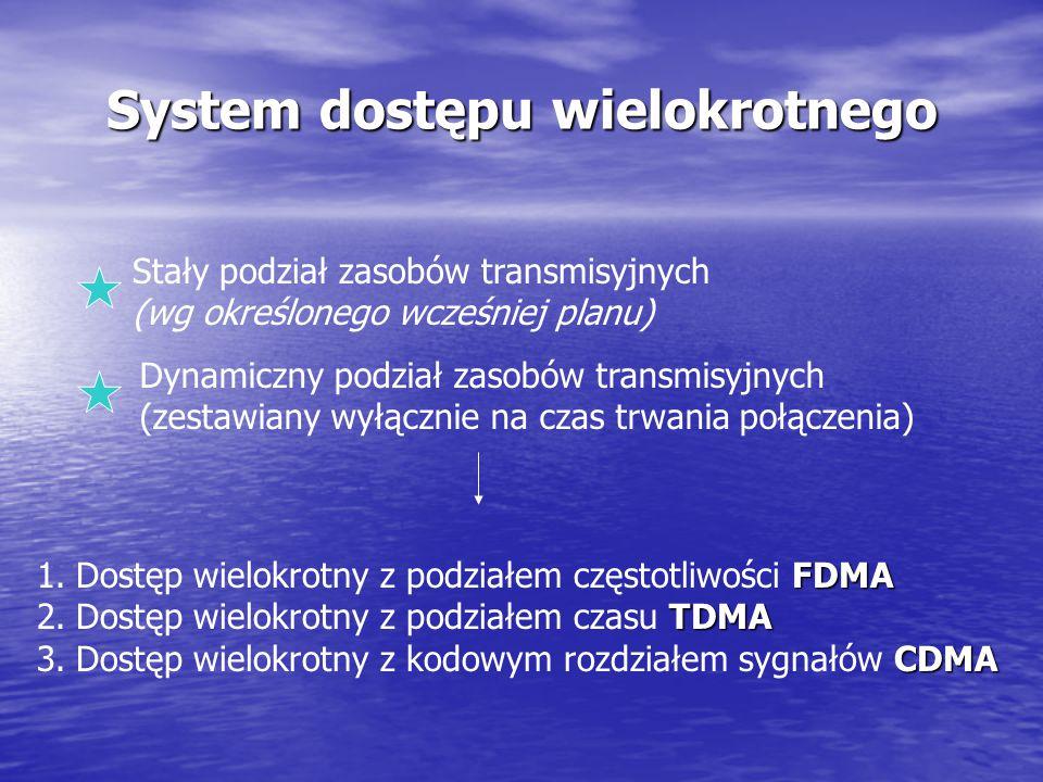 Bezprzewodowa transmisja danych systemy komórkowe Systemy klasy GSM i DCS udostępniają zbyt małą przepływność 9,6 kb/s Komutacja łączy. Technologie o