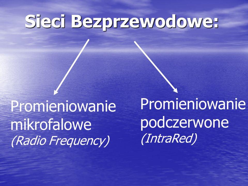 Komunikacja bezprzewodowa: zalety Elastyczność konfigurowaniu sieci w zależności od potrzeb Prostota instalacji w pomieszczeniach, gdzie jest utrudnio