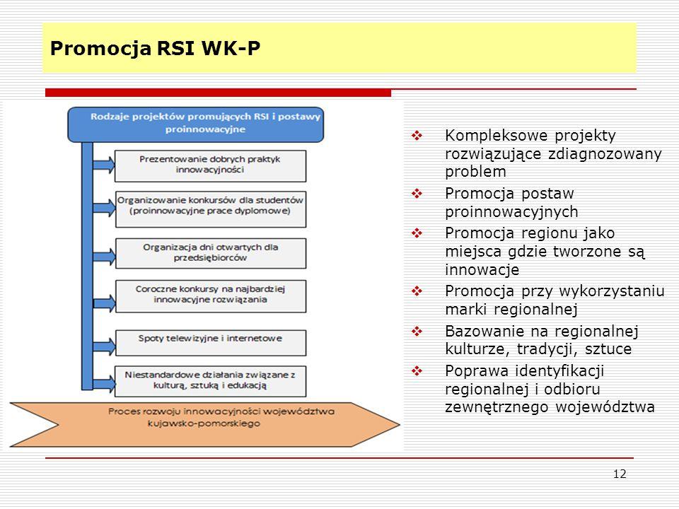 Promocja RSI WK-P 12  Kompleksowe projekty rozwiązujące zdiagnozowany problem  Promocja postaw proinnowacyjnych  Promocja regionu jako miejsca gdzie tworzone są innowacje  Promocja przy wykorzystaniu marki regionalnej  Bazowanie na regionalnej kulturze, tradycji, sztuce  Poprawa identyfikacji regionalnej i odbioru zewnętrznego województwa