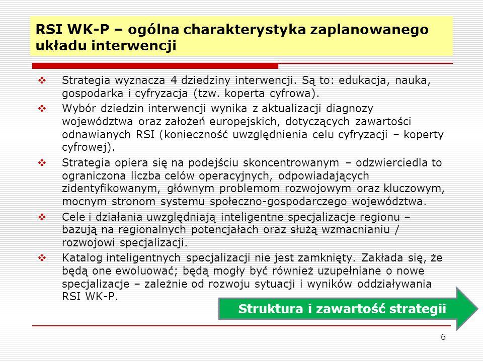 RSI WK-P – ogólna charakterystyka zaplanowanego układu interwencji  Strategia wyznacza 4 dziedziny interwencji. Są to: edukacja, nauka, gospodarka i