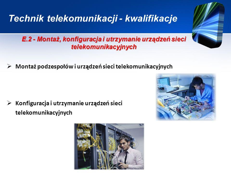 Technik telekomunikacji - kwalifikacje  Montaż podzespołów i urządzeń sieci telekomunikacyjnych  Konfiguracja i utrzymanie urządzeń sieci telekomuni