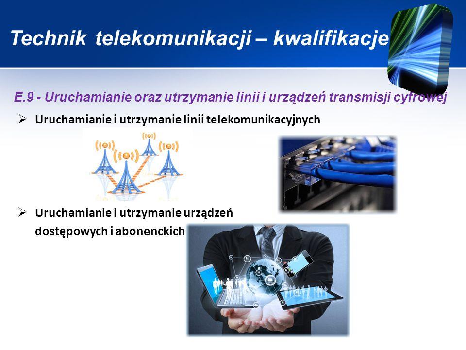 Technik telekomunikacji - kwalifikacje  Montaż sieci transmisyjnych  Uruchamianie sieci transmisyjnych  Utrzymanie sieci transmisyjnych E.10 - Montaż, uruchamianie i utrzymanie sieci transmisyjnych