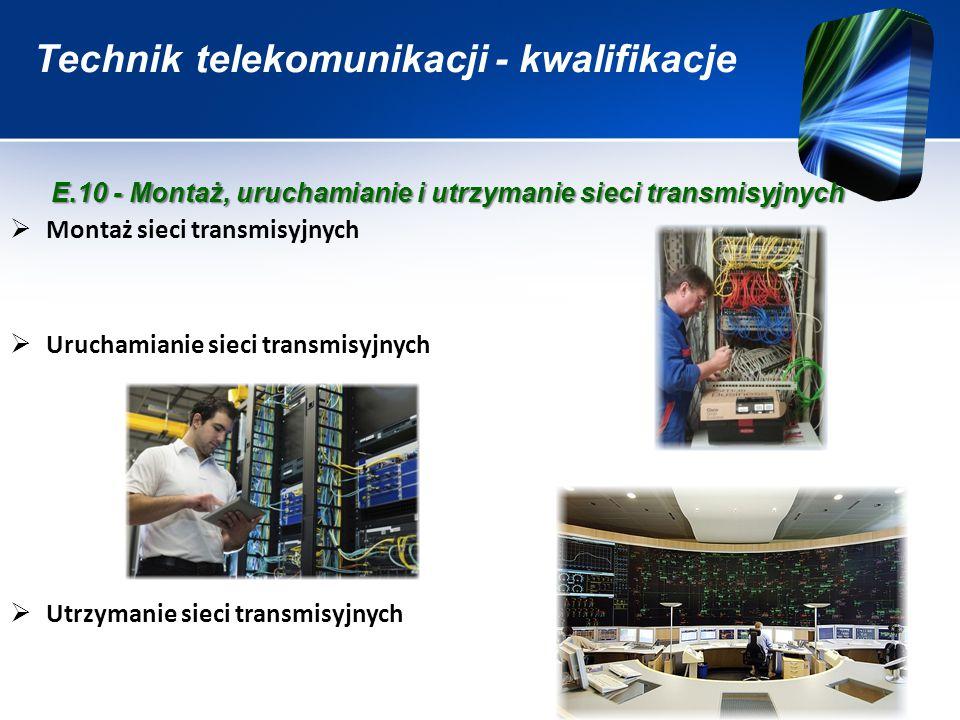Technik telekomunikacji - kwalifikacje  Montaż sieci transmisyjnych  Uruchamianie sieci transmisyjnych  Utrzymanie sieci transmisyjnych E.10 - Mont