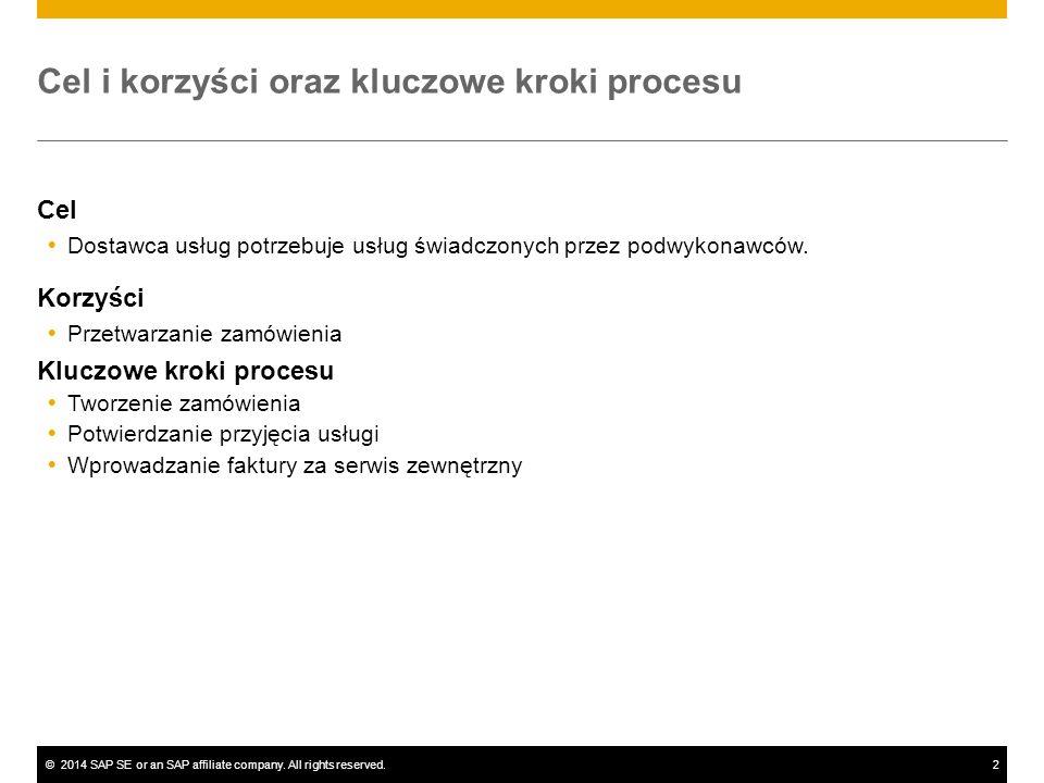 ©2014 SAP SE or an SAP affiliate company. All rights reserved.2 Cel i korzyści oraz kluczowe kroki procesu Cel  Dostawca usług potrzebuje usług świad