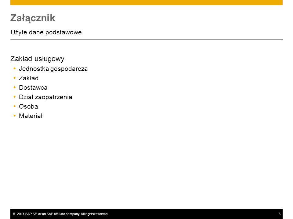 ©2014 SAP SE or an SAP affiliate company. All rights reserved.6 Załącznik Użyte dane podstawowe Zakład usługowy  Jednostka gospodarcza  Zakład  Dos