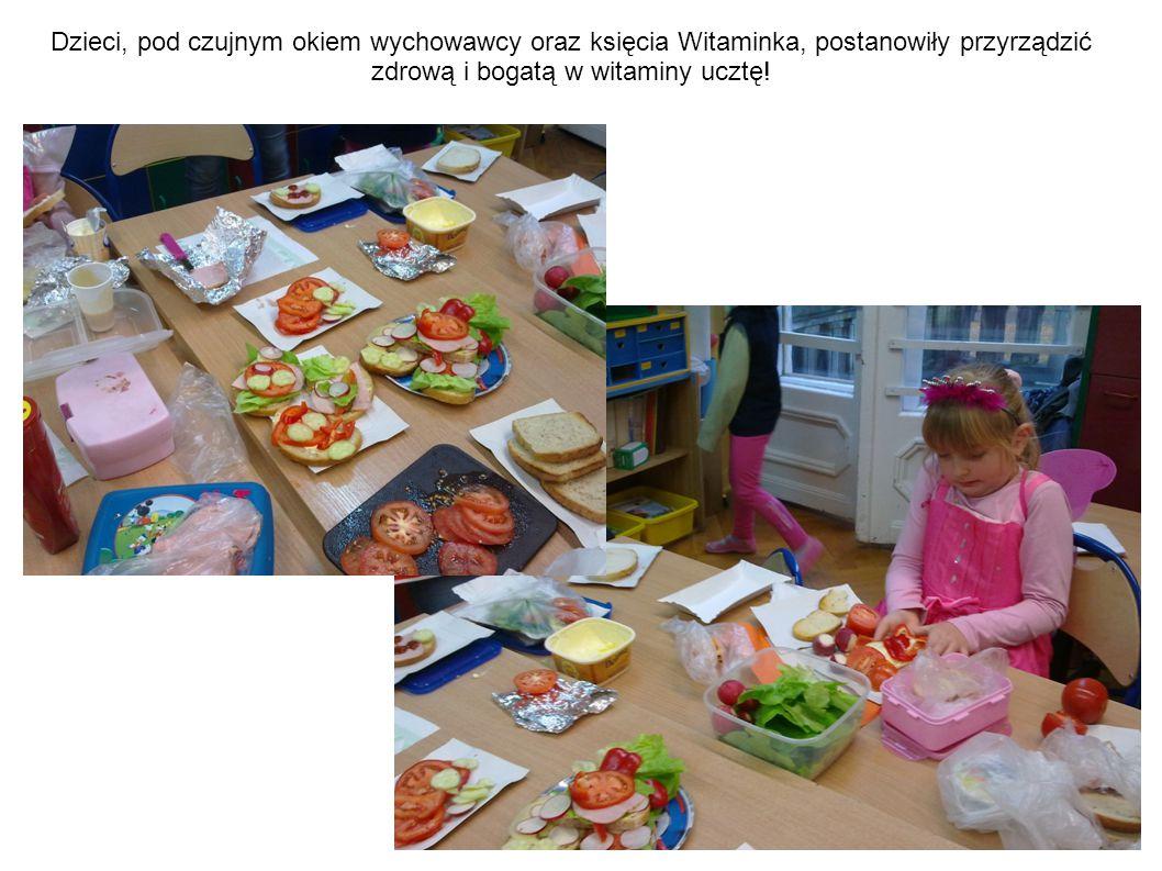 Dzieci, pod czujnym okiem wychowawcy oraz księcia Witaminka, postanowiły przyrządzić zdrową i bogatą w witaminy ucztę!