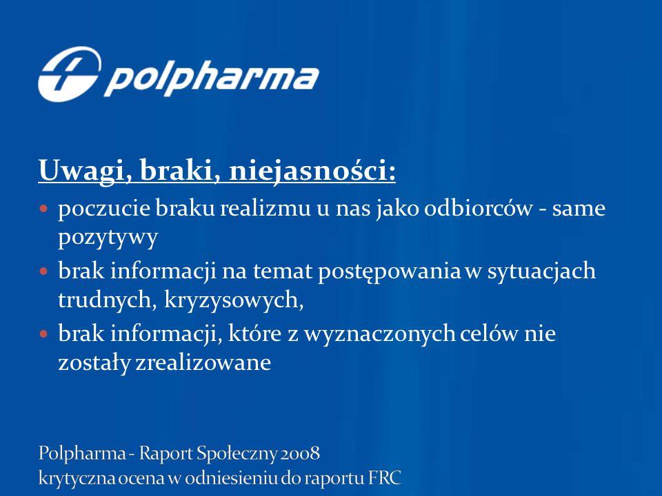brak jasnego zdefiniowania grup interesariuszy wspominanie o rzeczach podstawowych, niewykraczających poza fundamentalne powinności firmy Polpharma w raporcie chwali się swoimi osiągnięciami, w bardzo ogólnej formie, bez konkretnych liczb, odwołań.