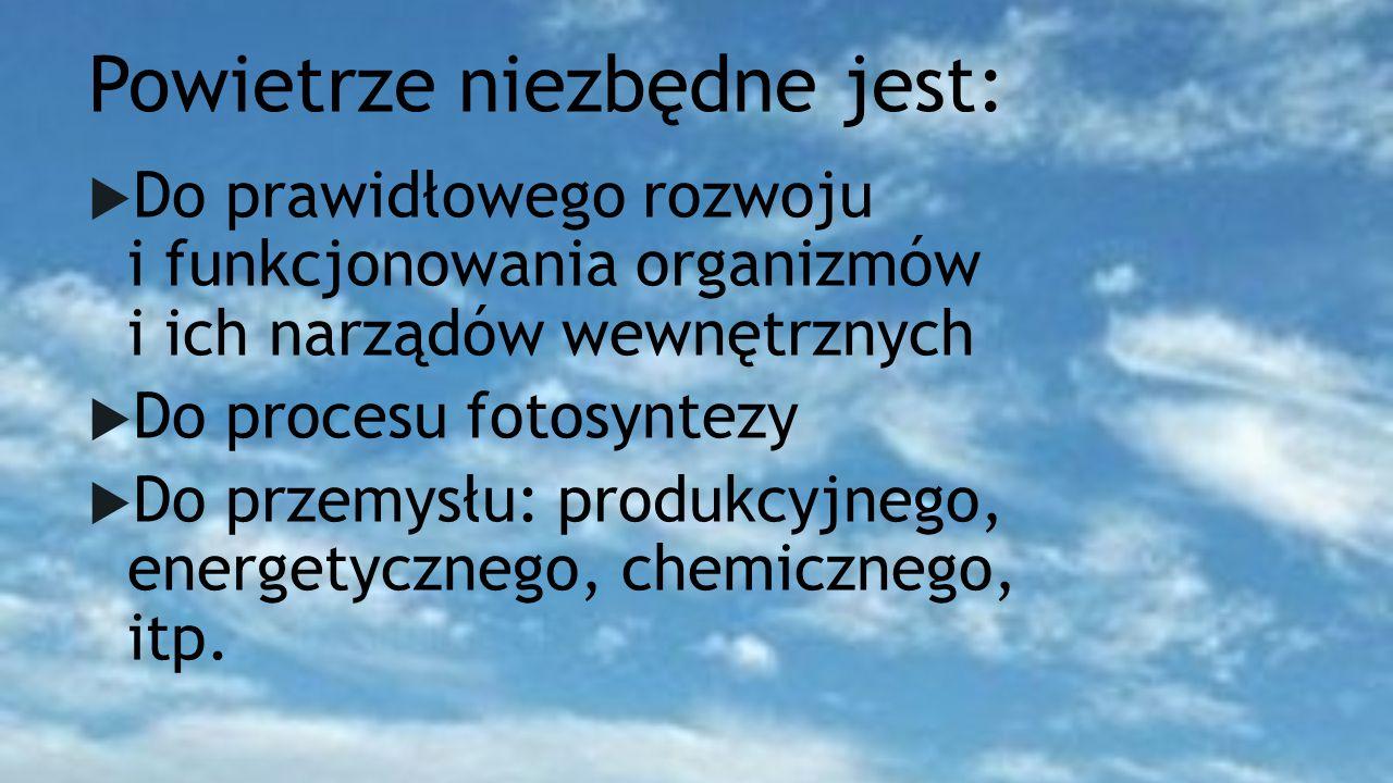 Powietrze niezbędne jest:  Do prawidłowego rozwoju i funkcjonowania organizmów i ich narządów wewnętrznych  Do procesu fotosyntezy  Do przemysłu: produkcyjnego, energetycznego, chemicznego, itp.