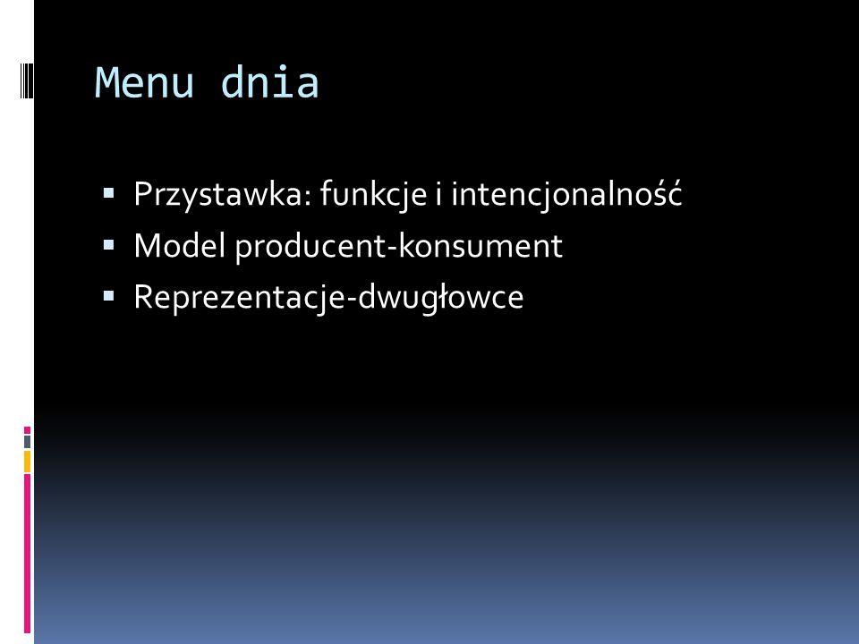 Menu dnia  Przystawka: funkcje i intencjonalność  Model producent-konsument  Reprezentacje-dwugłowce