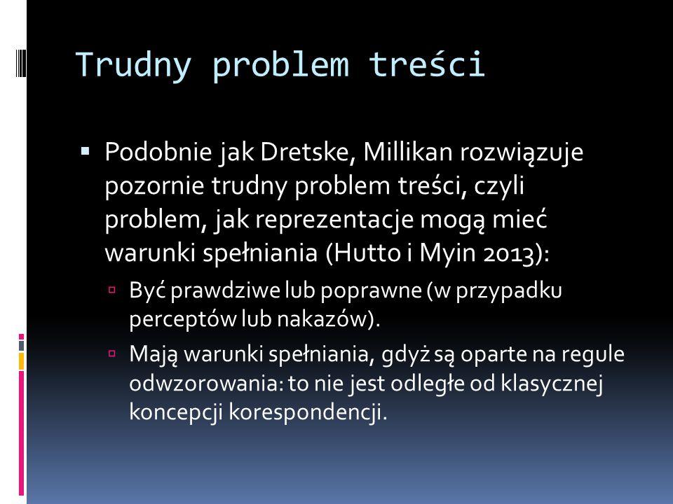 Trudny problem treści  Podobnie jak Dretske, Millikan rozwiązuje pozornie trudny problem treści, czyli problem, jak reprezentacje mogą mieć warunki spełniania (Hutto i Myin 2013):  Być prawdziwe lub poprawne (w przypadku perceptów lub nakazów).