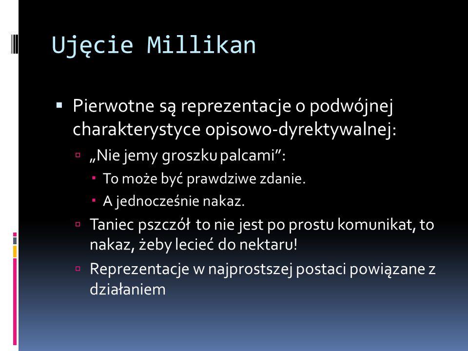 """Ujęcie Millikan  Pierwotne są reprezentacje o podwójnej charakterystyce opisowo-dyrektywalnej:  """"Nie jemy groszku palcami :  To może być prawdziwe zdanie."""