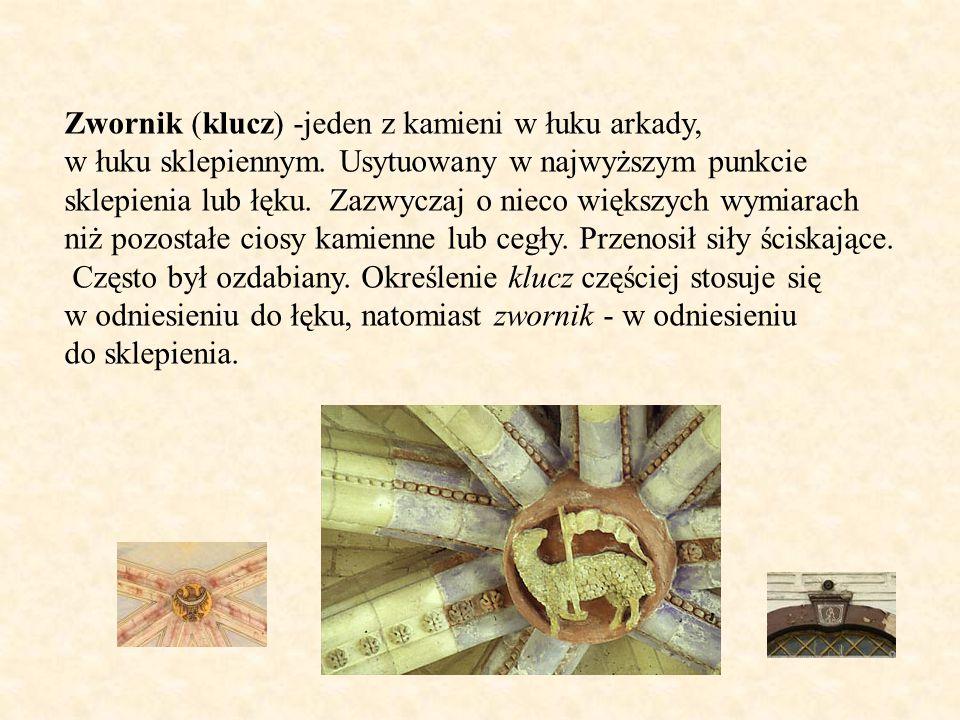 Zwornik (klucz) -jeden z kamieni w łuku arkady, w łuku sklepiennym. Usytuowany w najwyższym punkcie sklepienia lub łęku. Zazwyczaj o nieco większych w