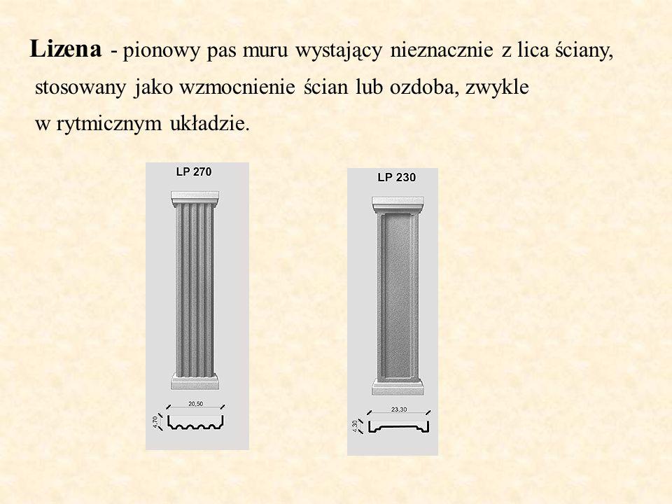Lizena - pionowy pas muru wystający nieznacznie z lica ściany, stosowany jako wzmocnienie ścian lub ozdoba, zwykle w rytmicznym układzie.