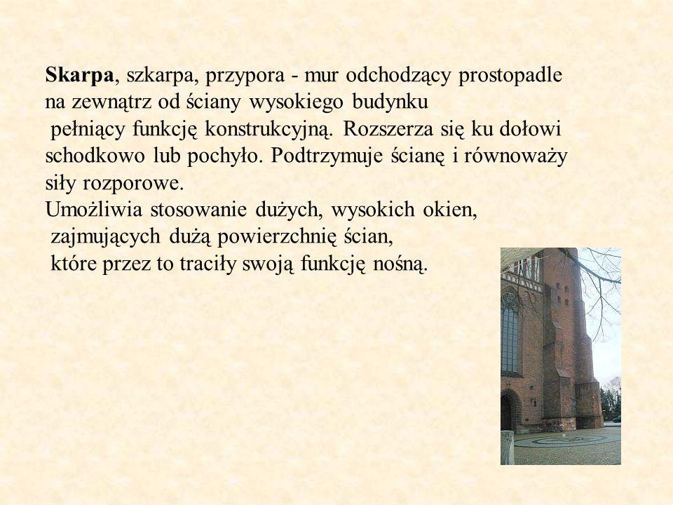 Skarpa, szkarpa, przypora - mur odchodzący prostopadle na zewnątrz od ściany wysokiego budynku pełniący funkcję konstrukcyjną. Rozszerza się ku dołowi