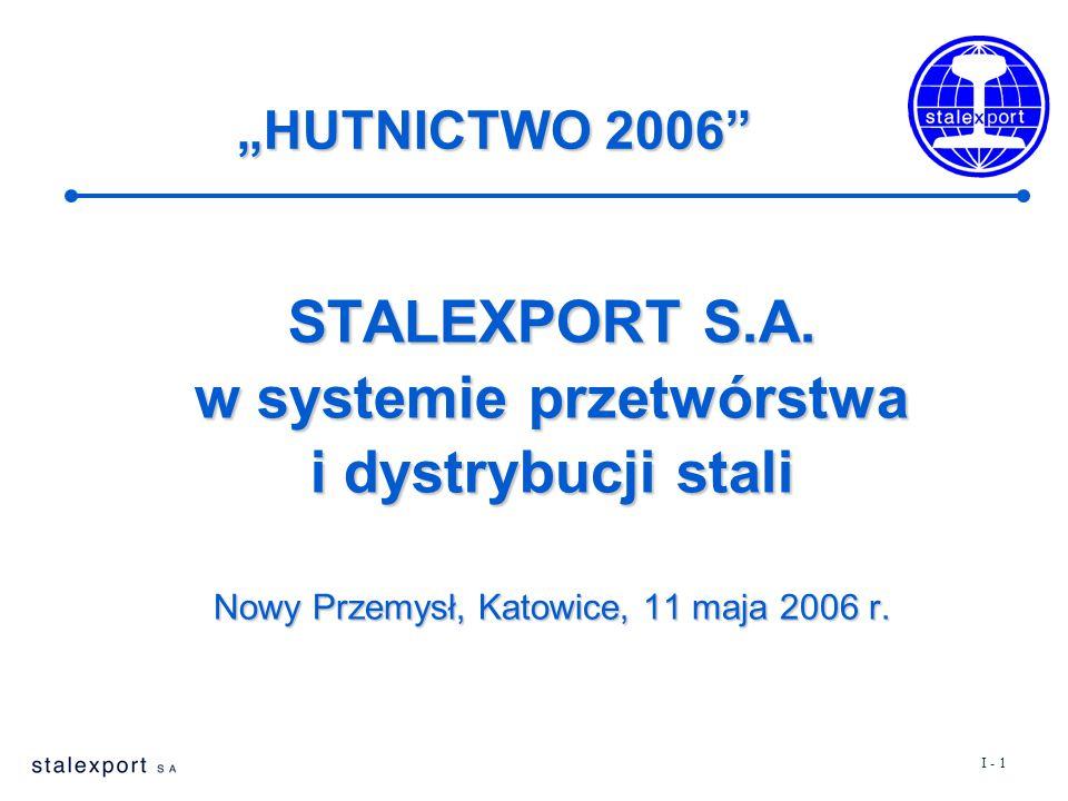 """I - 1 STALEXPORT S.A. w systemie przetwórstwa i dystrybucji stali Nowy Przemysł, Katowice, 11 maja 2006 r. """"HUTNICTWO 2006"""""""