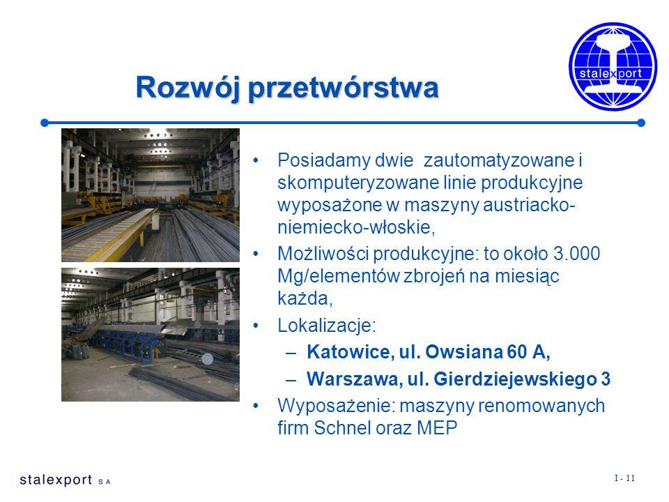 I - 11 Rozwój przetwórstwa Posiadamy dwie zautomatyzowane i skomputeryzowane linie produkcyjne wyposażone w maszyny austriacko- niemiecko-włoskie, Moż