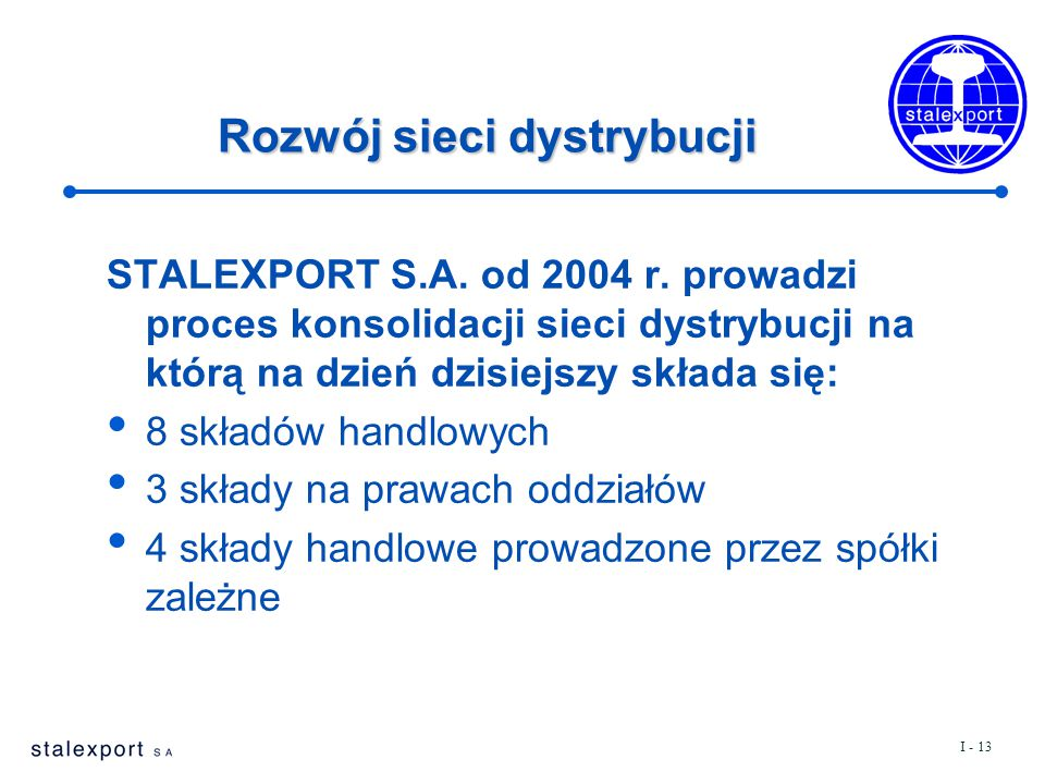 I - 13 Rozwój sieci dystrybucji STALEXPORT S.A. od 2004 r. prowadzi proces konsolidacji sieci dystrybucji na którą na dzień dzisiejszy składa się: 8 s