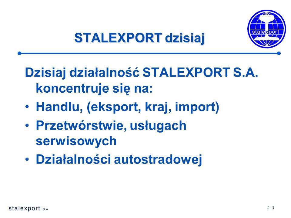 I - 3 STALEXPORT dzisiaj Dzisiaj działalność STALEXPORT S.A. koncentruje się na: Handlu, (eksport, kraj, import) Przetwórstwie, usługach serwisowych D