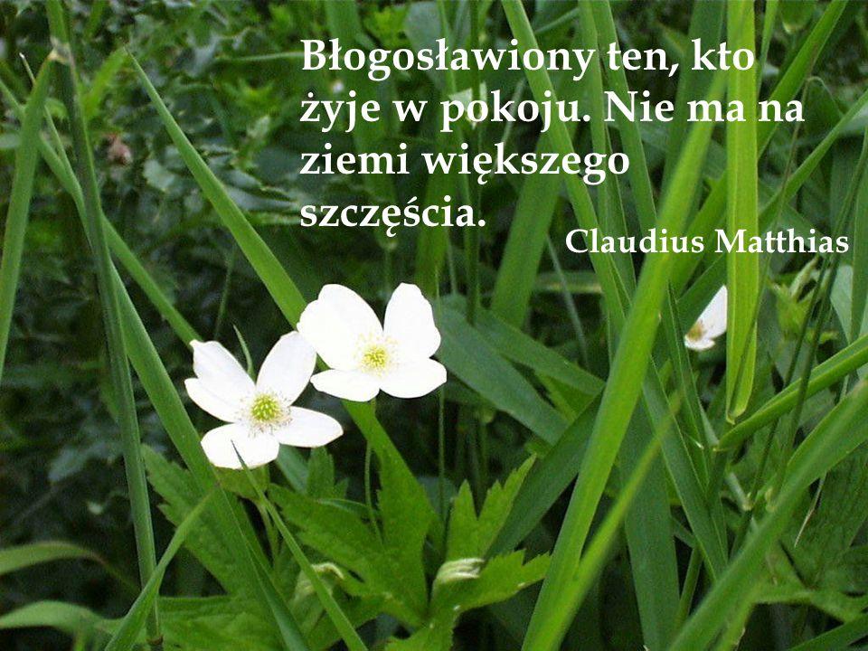 Błogosławiony ten, kto żyje w pokoju. Nie ma na ziemi większego szczęścia. Claudius Matthias
