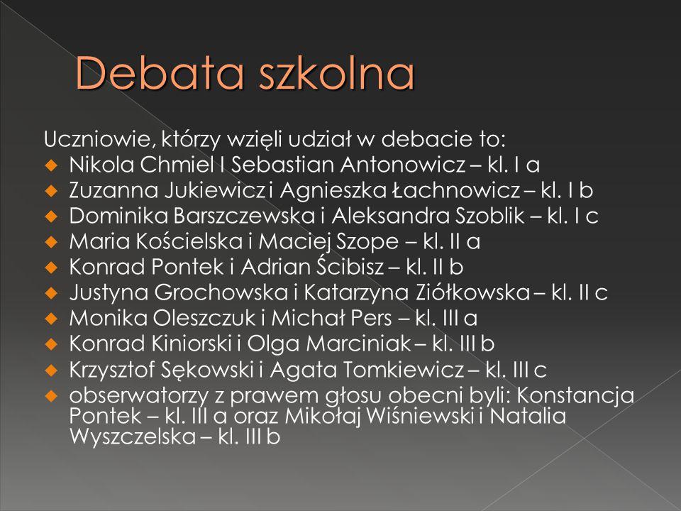 Uczniowie, którzy wzięli udział w debacie to:  Nikola Chmiel I Sebastian Antonowicz – kl. I a  Zuzanna Jukiewicz i Agnieszka Łachnowicz – kl. I b 