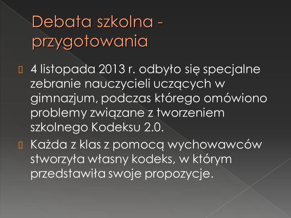 Debata szkolna - przygotowania  4 listopada 2013 r. odbyło się specjalne zebranie nauczycieli uczących w gimnazjum, podczas którego omówiono problemy
