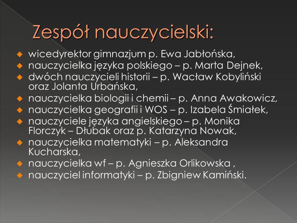 Zespół nauczycielski:  wicedyrektor gimnazjum p. Ewa Jabłońska,  nauczycielka języka polskiego – p. Marta Dejnek,  dwóch nauczycieli historii – p.