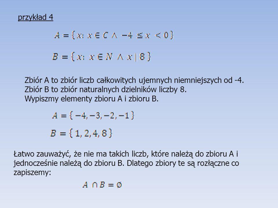 Zbiór A to zbiór liczb całkowitych ujemnych niemniejszych od -4. Zbiór B to zbiór naturalnych dzielników liczby 8. Wypiszmy elementy zbioru A i zbioru