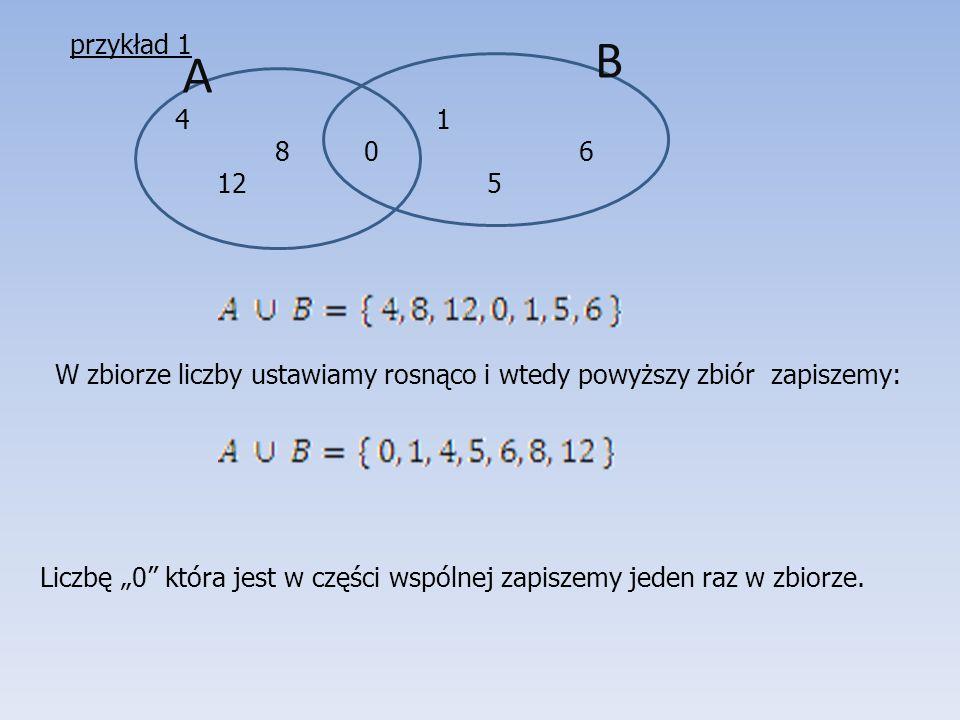 """A B 4 1 8 0 6 12 5 W zbiorze liczby ustawiamy rosnąco i wtedy powyższy zbiór zapiszemy: Liczbę """"0"""" która jest w części wspólnej zapiszemy jeden raz w"""