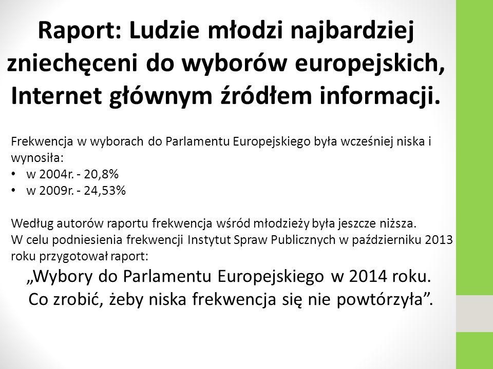 Raport: Ludzie młodzi najbardziej zniechęceni do wyborów europejskich, Internet głównym źródłem informacji.