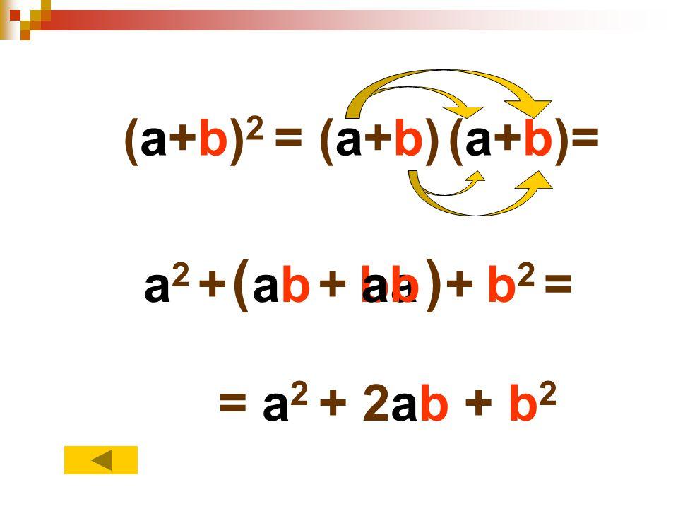 (a+b)(a+b)(a+b)= a2a2 +abab+baba+b2b2 = () abab = a 2 + 2ab + b 2