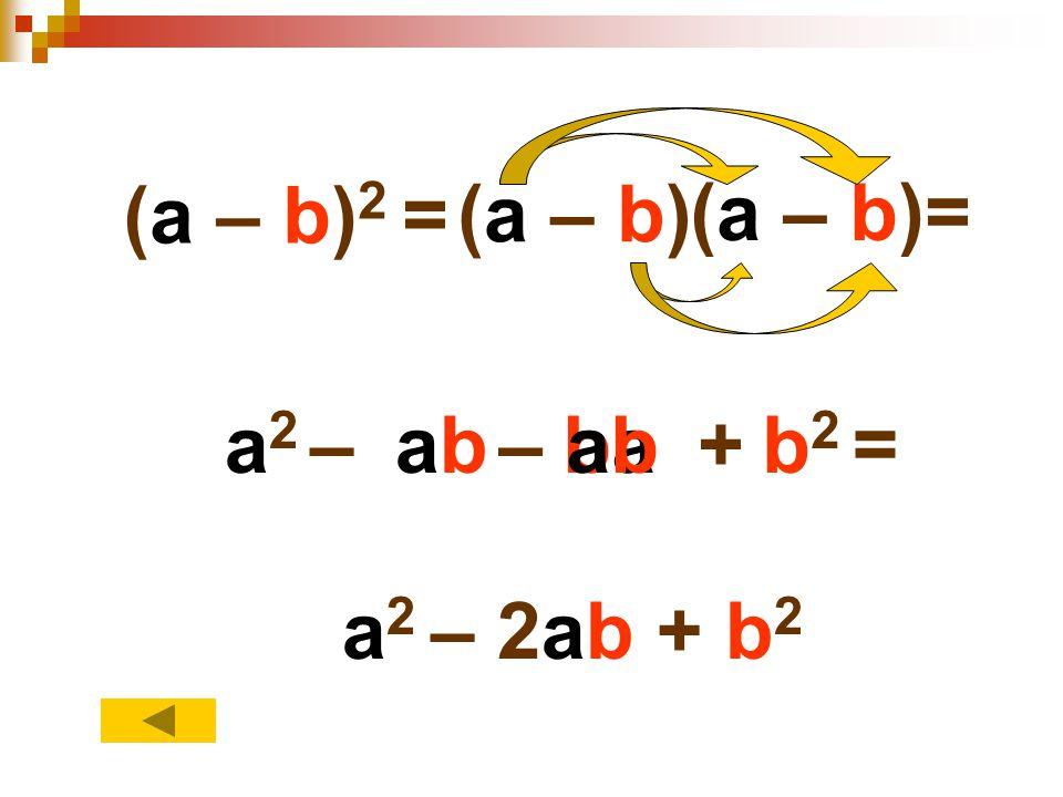 (a – b) 2 = (a – b) (a – b)= a2a2 –abab–baba+b2b2 =abab a 2 – 2ab + b 2