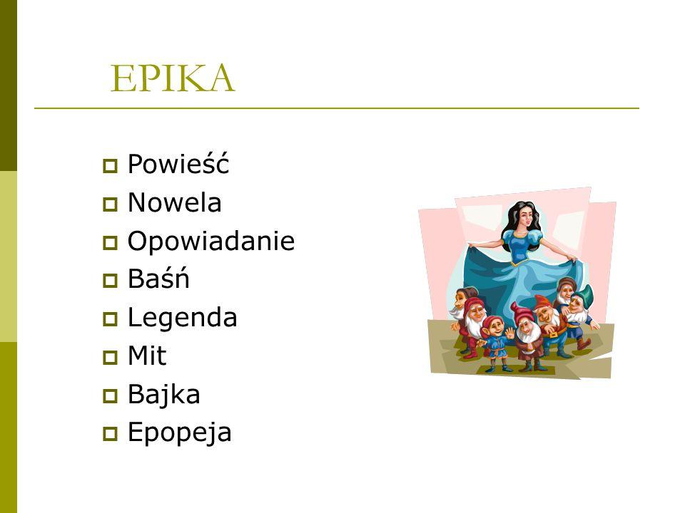 EPIKA  Powieść  Nowela  Opowiadanie  Baśń  Legenda  Mit  Bajka  Epopeja
