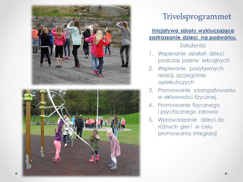 Trivelsprogrammet Inicjatywa szkoły wykluczająca zastraszanie dzieci na podwórku. Założenia: 1.Wspieranie działań dzieci podczas przerw lekcyjnych 2.W