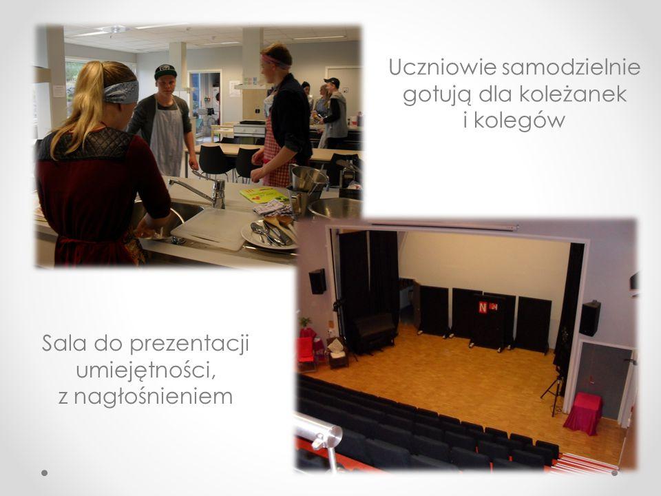 Uczniowie samodzielnie gotują dla koleżanek i kolegów Sala do prezentacji umiejętności, z nagłośnieniem