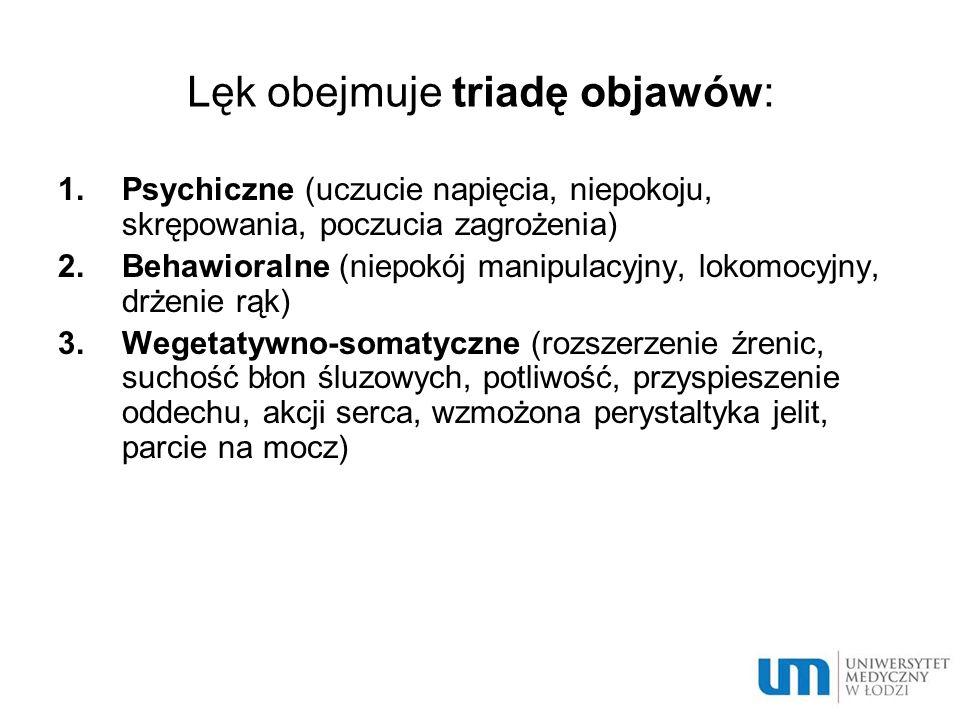 Lęk obejmuje triadę objawów: 1.Psychiczne (uczucie napięcia, niepokoju, skrępowania, poczucia zagrożenia) 2.Behawioralne (niepokój manipulacyjny, loko