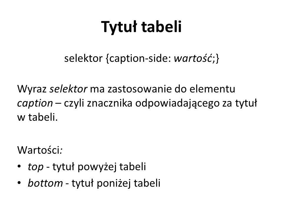 Tytuł tabeli selektor {caption-side: wartość;} Wyraz selektor ma zastosowanie do elementu caption – czyli znacznika odpowiadającego za tytuł w tabeli.