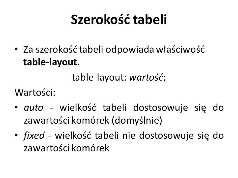 Szerokość tabeli Za szerokość tabeli odpowiada właściwość table-layout. table-layout: wartość; Wartości: auto - wielkość tabeli dostosowuje się do zaw