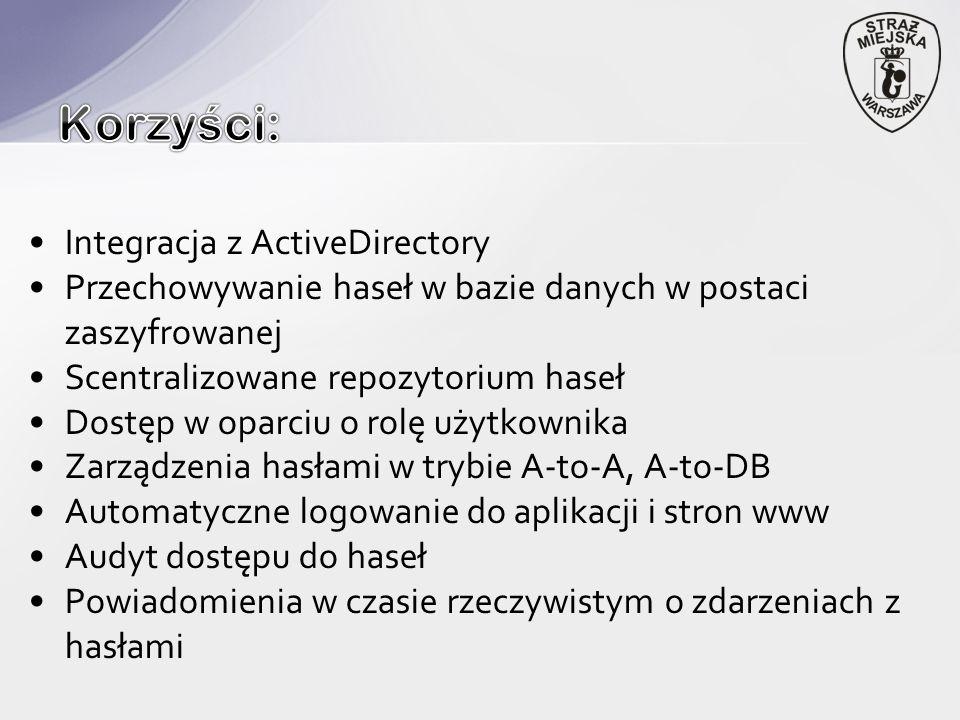 Integracja z ActiveDirectory Przechowywanie haseł w bazie danych w postaci zaszyfrowanej Scentralizowane repozytorium haseł Dostęp w oparciu o rolę użytkownika Zarządzenia hasłami w trybie A-to-A, A-to-DB Automatyczne logowanie do aplikacji i stron www Audyt dostępu do haseł Powiadomienia w czasie rzeczywistym o zdarzeniach z hasłami
