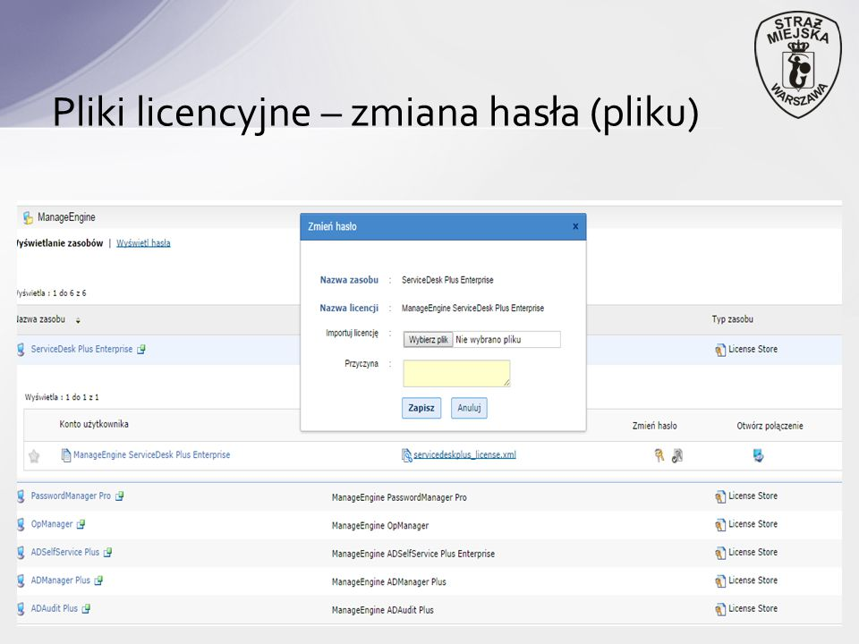 Pliki licencyjne – zmiana hasła (pliku)