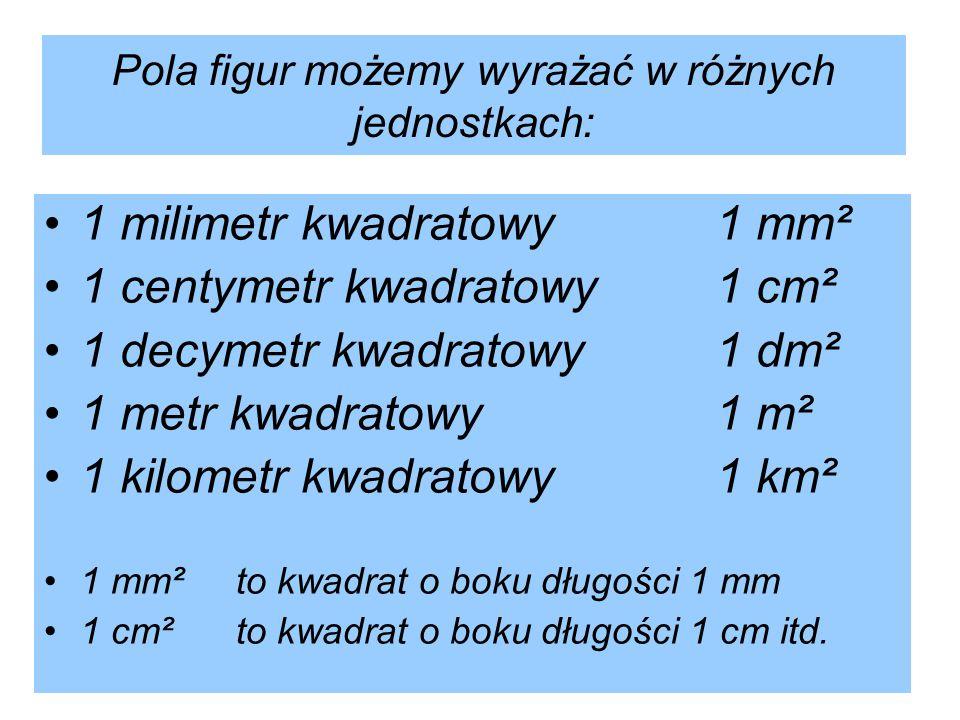 Pola figur możemy wyrażać w różnych jednostkach: 1 milimetr kwadratowy1 mm² 1 centymetr kwadratowy1 cm² 1 decymetr kwadratowy1 dm² 1 metr kwadratowy1