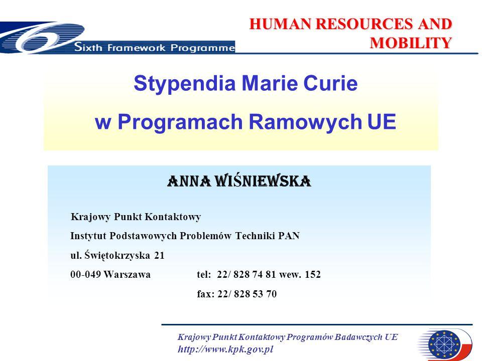 Krajowy Punkt Kontaktowy Programów Badawczych UE http://www.kpk.gov.pl HUMAN RESOURCES AND MOBILITY Stypendia Marie Curie w Programach Ramowych UE Ann