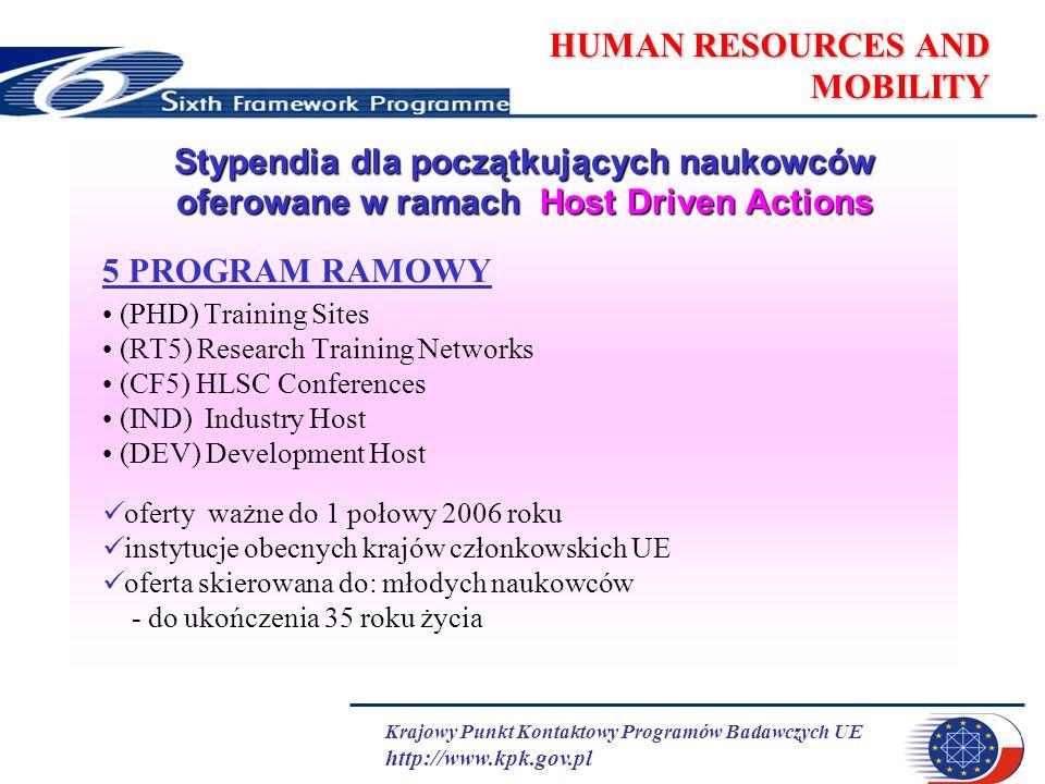 Krajowy Punkt Kontaktowy Programów Badawczych UE http://www.kpk.gov.pl HUMAN RESOURCES AND MOBILITY Stypendia dla początkujących naukowców oferowane w