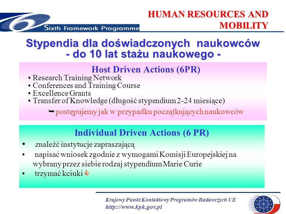 Krajowy Punkt Kontaktowy Programów Badawczych UE http://www.kpk.gov.pl HUMAN RESOURCES AND MOBILITY Stypendia dla doświadczonych naukowców - do 10 lat