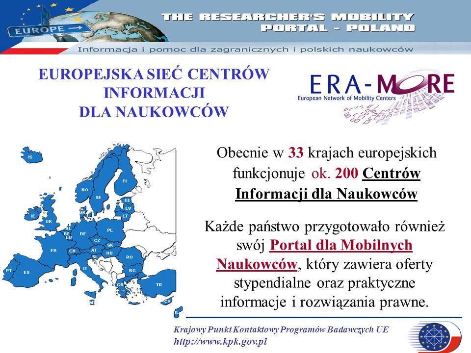 Krajowy Punkt Kontaktowy Programów Badawczych UE http://www.kpk.gov.pl Obecnie w 33 krajach europejskich funkcjonuje ok. 200 Centrów Informacji dla Na