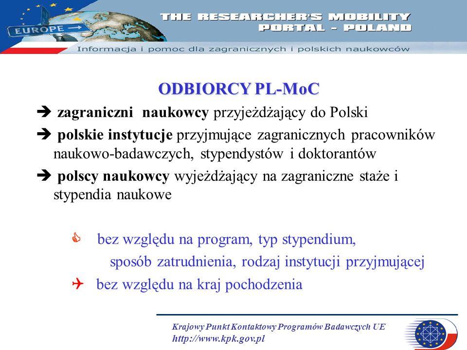 Krajowy Punkt Kontaktowy Programów Badawczych UE http://www.kpk.gov.pl ODBIORCY PL-MoC  zagraniczni naukowcy przyjeżdżający do Polski  polskie insty