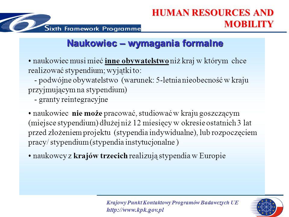 Krajowy Punkt Kontaktowy Programów Badawczych UE http://www.kpk.gov.pl HUMAN RESOURCES AND MOBILITY Naukowiec – wymagania formalne naukowiec musi mieć