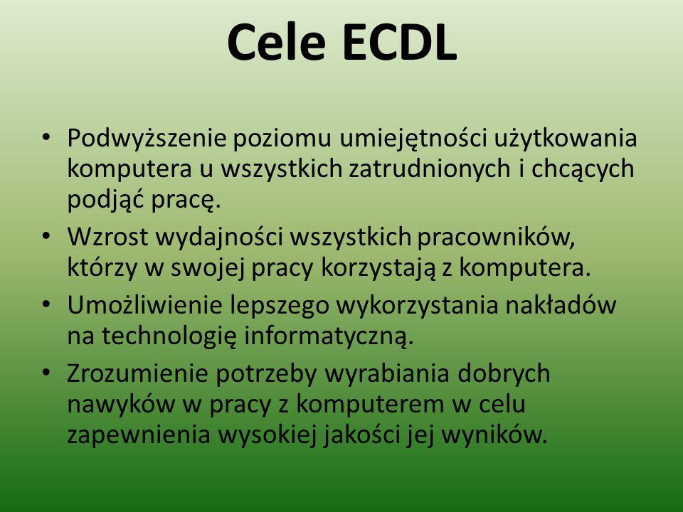 Cele ECDL Podwyższenie poziomu umiejętności użytkowania komputera u wszystkich zatrudnionych i chcących podjąć pracę. Wzrost wydajności wszystkich pra
