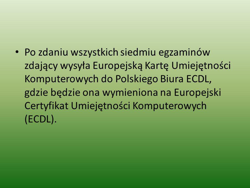 Po zdaniu wszystkich siedmiu egzaminów zdający wysyła Europejską Kartę Umiejętności Komputerowych do Polskiego Biura ECDL, gdzie będzie ona wymieniona